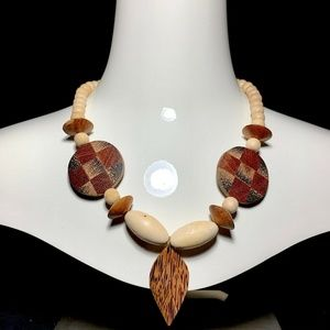 Vintage Bohemian Inlay Exotic Wood Bead Necklace